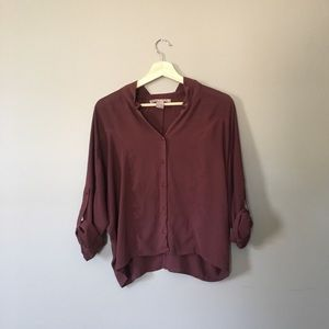 Maroon Chiffon Dolman Sleeve Button Down Blouse